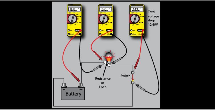 Voltage Drop and Resistance Measurement on simple led circuit diagram, digital multimeter circuit diagram, voltmeter circuit diagram, voltmeter switch diagram, voltmeter parts diagram, voltmeter block diagram,